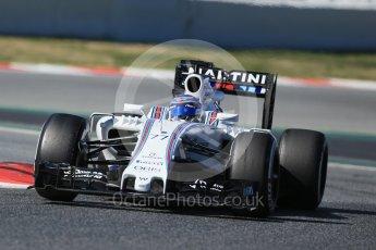 World © Octane Photographic Ltd. Williams Martini Racing, Williams Mercedes FW38 – Valtteri Bottas. Tuesday 1st March 2016, F1 Winter testing, Circuit de Barcelona Catalunya, Spain, Day 5. Digital Ref : 1508LB1D4496