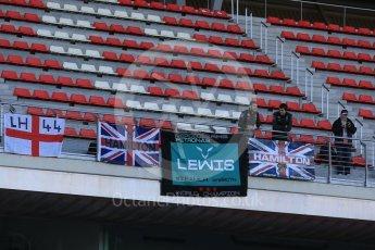 World © Octane Photographic Ltd. Mercedes AMG Petronas, Lewis Hamilton fans. Tuesday 1st March 2016, F1 Winter testing, Circuit de Barcelona Catalunya, Spain, Day 5. Digital Ref : 1508LB5D8878