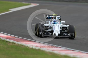 World © Octane Photographic Ltd. Williams Martini Racing, Williams Mercedes FW38 – Valtteri Bottas. Friday 22nd July 2016, F1 Hungarian GP Practice 2, Hungaroring, Hungary. Digital Ref : 1641LB1D1758