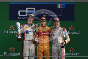 World © Octane Photographic Ltd. Prema Racing – Antonia Giovinazzi (1st), Russian Time – Raffaele Marciello (2nd) and Rapax – Gustav Malja (3rd). Saturday 3rd September 2016, GP2 Race 1 Podium, Monza, Italy. Digital Ref :1700LB1D9051