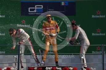 World © Octane Photographic Ltd. Prema Racing – Antonia Giovinazzi (1st), Russian Time – Raffaele Marciello (2nd) and Rapax – Gustav Malja (3rd). Saturday 3rd September 2016, GP2 Race 1 Podium, Monza, Italy. Digital Ref :1700LB1D9076