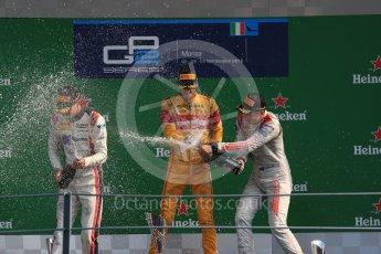 World © Octane Photographic Ltd. Prema Racing – Antonia Giovinazzi (1st), Russian Time – Raffaele Marciello (2nd) and Rapax – Gustav Malja (3rd). Saturday 3rd September 2016, GP2 Race 1 Podium, Monza, Italy. Digital Ref :1700LB1D9093