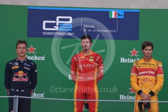 World © Octane Photographic Ltd. Racing Engineering – Norman Nato (1st) and Prema Racing – Pierre Gasly (2nd) and Antonia Giovinazzi (3rd). Sunday 4th September 2016, GP2 Race 1 Podium, Monza, Italy. Digital Ref :1707LB1D9992