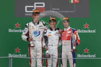 World © Octane Photographic Ltd. ART Grand Prix – Nyck de Vries (1st) and Alexander Albon (2nd) and Trident – Antonia Fuoco (3rd). Sunday 4th September 2016, GP3 Race 2 Podium, Spa-Francorchamps, Belgium. Digital Ref :1703LB1D9796