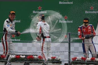 World © Octane Photographic Ltd. ART Grand Prix – Nyck de Vries (1st) and Alexander Albon (2nd) and Trident – Antonia Fuoco (3rd). Sunday 4th September 2016, GP3 Race 2 Podium, Spa-Francorchamps, Belgium. Digital Ref :1703LB1D9820