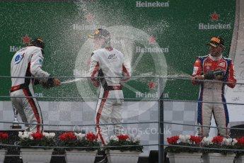 World © Octane Photographic Ltd. ART Grand Prix – Nyck de Vries (1st) and Alexander Albon (2nd) and Trident – Antonia Fuoco (3rd). Sunday 4th September 2016, GP3 Race 2 Podium, Spa-Francorchamps, Belgium. Digital Ref :1703LB1D9824