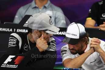World © Octane Photographic Ltd. F1 Singapore GP FIA Driver Press Conference, Suzuka Circuit, Suzuka, Japan. Thursday 6th October 2016. Mercedes AMG Petronas – Lewis Hamilton and McLaren Honda - Fernando Alonso chat. Digital Ref : 1727LB1D3277