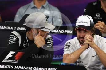 World © Octane Photographic Ltd. F1 Singapore GP FIA Driver Press Conference, Suzuka Circuit, Suzuka, Japan. Thursday 6th October 2016. Mercedes AMG Petronas – Lewis Hamilton and McLaren Honda - Fernando Alonso chat. Digital Ref : 1727LB1D3283