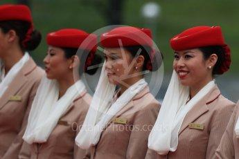 World © Octane Photographic Ltd. Emirates grid girls. Sunday 9th October 2016, F1 Japanese GP - Drivers' parade, Suzuka Circuit, Suzuka, Japan. Digital Ref :1735LB1D6934