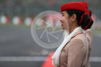 World © Octane Photographic Ltd. Emirates grid girl. Sunday 9th October 2016, F1 Japanese GP - Drivers' parade, Suzuka Circuit, Suzuka, Japan. Digital Ref :1735LB1D6942