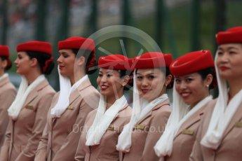 World © Octane Photographic Ltd. Emirates grid girls. Sunday 9th October 2016, F1 Japanese GP - Drivers' parade, Suzuka Circuit, Suzuka, Japan. Digital Ref :1735LB1D6960