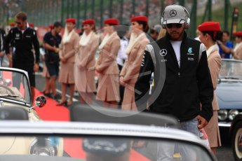 World © Octane Photographic Ltd. Mercedes AMG Petronas W07 Hybrid – Lewis Hamilton. Sunday 9th October 2016, F1 Japanese GP - Drivers' parade. Suzuka Circuit, Suzuka, Japan. Digital Ref :1735LB1D7026