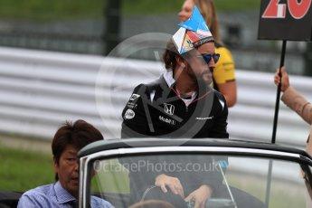 World © Octane Photographic Ltd. McLaren Honda MP4-31 – Fernando Alonso. Sunday 9th October 2016, F1 Japanese GP - Drivers' parade, Suzuka Circuit, Suzuka, Japan. Digital Ref :1735LB1D7060