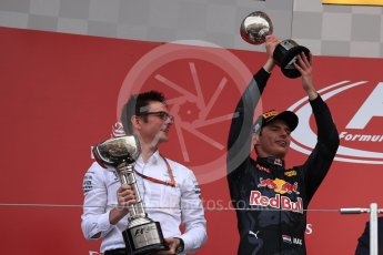 World © Octane Photographic Ltd. Red Bull Racing – Max Verstappen (2nd). Sunday 9th October 2016, F1 Japanese GP - Podium. Suzuka Circuit, Suzuka, Japan. Digital Ref :1737LB1D8552