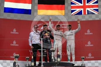 World © Octane Photographic Ltd. Mercedes AMG Petronas – Nico Rosberg (1st) Red Bull Racing – Max Verstappen (2nd) and Mercedes AMG Petronas – Lewis Hamilton (3rd). Sunday 9th October 2016, F1 Japanese GP - Podium. Suzuka Circuit, Suzuka, Japan. Digital Ref :1737LB1D8713