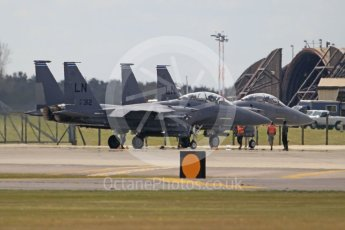 "World © Octane Photographic Ltd. 3rd May 2016 RAF Lakenheath, USAF (United States Air Force) 48th Fighter Wing ""Statue of Liberty Wing"" 492 Fighter Squadron ""Mad Hatters"", McDonnell Douglas F-15E Strike Eagle. Digital Ref : 1531CB1L0980"