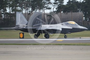 "World © Octane Photographic Ltd. 3rd May 2016 RAF Lakenheath, USAF (United States Air Force) 325th Operations Group, 95th Fighter Squadron ""Boneheads"", Lockheed-Martin F-22 Raptor. Digital Ref :1531CB1L1468"