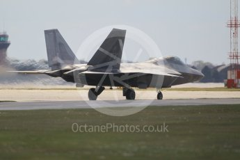 "World © Octane Photographic Ltd. 3rd May 2016 RAF Lakenheath, USAF (United States Air Force) 325th Operations Group, 95th Fighter Squadron ""Boneheads"", Lockheed-Martin F-22 Raptor. Digital Ref :1531CB1L1486"