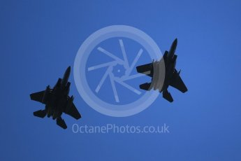 "World © Octane Photographic Ltd. 3rd May 2016 RAF Lakenheath, USAF (United States Air Force) 48th Fighter Wing ""Statue of Liberty Wing"" commanding officer's personal aircraft, McDonnell Douglas F-15E Strike Eagle and wingman. Digital Ref :1531CB1L1710"