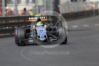 World © Octane Photographic Ltd. Sahara Force India VJM09 - Sergio Perez. Saturday 28th May 2016, F1 Monaco GP Practice 3, Monaco, Monte Carlo. Digital Ref : 1568CB7D1974