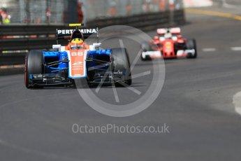 World © Octane Photographic Ltd. Manor Racing MRT05 – Rio Haryanto and Scuderia Ferrari SF16-H – Sebastian Vettel. Saturday 28th May 2016, F1 Monaco GP Practice 3, Monaco, Monte Carlo. Digital Ref : 1568CB7D1985