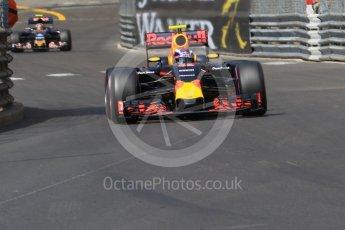 World © Octane Photographic Ltd. Red Bull Racing RB12 – Max Verstappen and Scuderia Toro Rosso STR11 – Carlos Sainz. Saturday 28th May 2016, F1 Monaco GP Practice 3, Monaco, Monte Carlo. Digital Ref : 1568CB7D2009