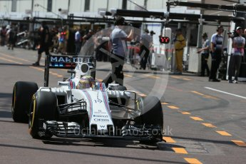 World © Octane Photographic Ltd. Williams Martini Racing, Williams Mercedes FW38 – Felipe Massa. Saturday 28th May 2016, F1 Monaco GP Practice 3, Monaco, Monte Carlo. Digital Ref : 1568LB1D9453