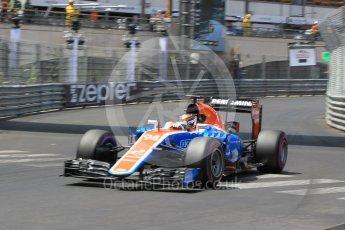 World © Octane Photographic Ltd. Manor Racing MRT05 - Pascal Wehrlein. Saturday 28th May 2016, F1 Monaco GP Qualifying, Monaco, Monte Carlo. Digital Ref :
