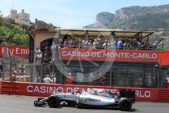 World © Octane Photographic Ltd. Williams Martini Racing, Williams Mercedes FW38 – Valtteri Bottas. Saturday 28th May 2016, F1 Monaco GP Qualifying, Monaco, Monte Carlo. Digital Ref :