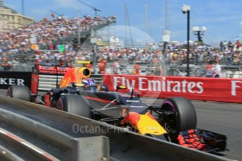 World © Octane Photographic Ltd. Red Bull Racing RB12 – Max Verstappen JUST prior to clipping the barrier. Saturday 28th May 2016, F1 Monaco GP Qualifying, Monaco, Monte Carlo. Digital Ref :