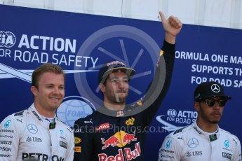 World © Octane Photographic Ltd. Red Bull Racing RB12 – Daniel Ricciardo (Pole), Mercedes AMG Petronas W07 Hybrid – Nico Rosberg (2nd) and Lewis Hamilton (3rd). Saturday 28th May 2016, F1 Monaco GP Qualifying, Monaco, Monte Carlo. Digital Ref :