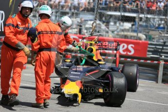 World © Octane Photographic Ltd. Red Bull Racing RB12 – Max Verstappen's car being recovered. Saturday 28th May 2016, F1 Monaco GP Qualifying, Monaco, Monte Carlo. Digital Ref :