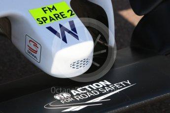 World © Octane Photographic Ltd. Williams Martini Racing, Williams Mercedes FW38 – nose intake. Wednesday 25th May 2016, F1 Monaco GP Paddock, Monaco, Monte Carlo. Digital Ref :1559CB7D9833