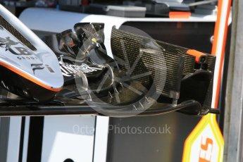 World © Octane Photographic Ltd. Sahara Force India VJM09 - front wing. Wednesday 25th May 2016, F1 Monaco GP Paddock, Monaco, Monte Carlo. Digital Ref :1559CB7D9849