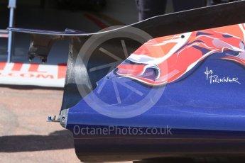 World © Octane Photographic Ltd. Scuderia Toro Rosso STR11 – asymmetric rear bodywork. Wednesday 25th May 2016, F1 Monaco GP Paddock, Monaco, Monte Carlo. Digital Ref :1559CB7D9904