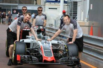 World © Octane Photographic Ltd. Haas F1 Team VF-16 – Romain Grosjean. Wednesday 25th May 2016, F1 Monaco GP Paddock, Monaco, Monte Carlo. Digital Ref :1559CB7D9997