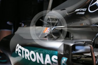World © Octane Photographic Ltd. Mercedes AMG Petronas W07 Hybrid – sidepod. Wednesday 25th May 2016, F1 Monaco GP Paddock, Monaco, Monte Carlo. Digital Ref :1559LB1D4133