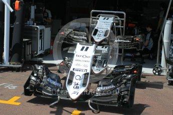 World © Octane Photographic Ltd. Sahara Force India VJM09 nose and front wings - Sergio Perez. Wednesday 25th May 2016, F1 Monaco GP Paddock, Monaco, Monte Carlo. Digital Ref :1559LB1L6458