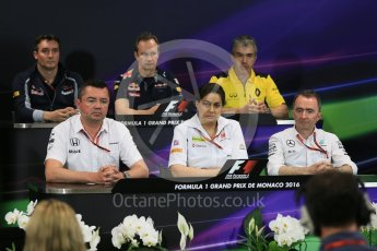 World © Octane Photographic Ltd. F1 Monaco GP FIA Team Personnel Press Conference, Monaco, Monte Carlo, Thursday 26th May 2016. McLaren Honda Racing Director – Eric Boullier, Renault Sport F1 Team Chassis Technical Director – Nick Chester, Sauber F1 Team Principal - Monisha Kaltenborn, Scuderia Toro Rosso Technical Director - James Key, Mercedes AMG Petronas Executive Director (Technical) - Paddy Lowe and Red Bull Racing Chief Engineer (Car Engineering) - Paul Monaghan. Digital Ref : 1563LB5D7909