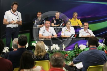 World © Octane Photographic Ltd. F1 Monaco GP FIA Team Personnel Press Conference, Monaco, Monte Carlo, Thursday 26th May 2016. McLaren Honda Racing Director – Eric Boullier, Renault Sport F1 Team Chassis Technical Director – Nick Chester, Sauber F1 Team Principal - Monisha Kaltenborn, Scuderia Toro Rosso Technical Director - James Key, Mercedes AMG Petronas Executive Director (Technical) - Paddy Lowe and Red Bull Racing Chief Engineer (Car Engineering) - Paul Monaghan. Digital Ref : 1563LB5D7911