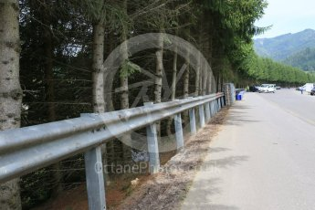 World © Octane Photographic Ltd. West loop of the old Osterreichring circuit - old armco still in place on the old Flatschach series of sweeping curves. Thursday 30th June 2016, F1 Austrian GP, Red Bull Ring, Spielberg, Austria. Digital Ref : 1597CB5D2446