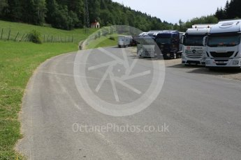 World © Octane Photographic Ltd. West loop of the old Osterreichring circuit - The old Dr.Tiroch Kurve now used as a truck park. Thursday 30th June 2016, F1 Austrian GP, Red Bull Ring, Spielberg, Austria. Digital Ref : 1597CB5D2462