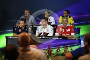 World © Octane Photographic Ltd. F1 Singapore GP FIA Personnel Press Conference, Marina Bay Circuit, Singapore. Friday 16th September 2016. Cyril Abiteboul – Managing Director Renault Sport F1 Team, Maurizio Arrivabene – Team Principal Scuderia Ferrari, Christian Horner – Team Principal Red Bull Racing, Monisha Kaltenborn – Team Principal Sauber F1 Team, Guenther Steiner – Team Principal Haas F1 Team and Toto Wolff – Executive Director Mercedes AMG Petronas. Digital Ref : 1718LB2D9979