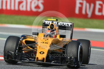World © Octane Photographic Ltd. Renault Sport F1 Team RS16 – Esteban Ocon. Friday 13th May 2016, F1 Spanish GP - Practice 1, Circuit de Barcelona Catalunya, Spain. Digital Ref : 1536LB1D3868