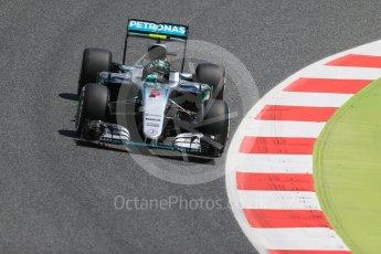 World © Octane Photographic Ltd. Mercedes AMG Petronas W07 Hybrid – Nico Rosberg. Friday 13th May 2016, F1 Spanish GP Practice 2, Circuit de Barcelona Catalunya, Spain. Digital Ref : 1539LB1D4911