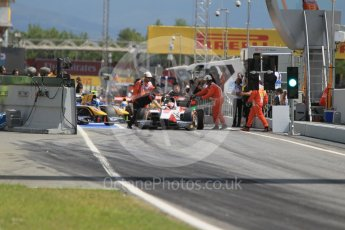 World © Octane Photographic Ltd. ART Grand Prix - GP2/11 – Nobuharu Matsushita stalls at the front of the line up to leave the pits causing a short delay in action. Friday 13th May 2016, GP2 Practice, Circuit de Barcelona Catalunya, Spain. Digital Ref :1538CB1D7925
