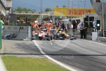 World © Octane Photographic Ltd. ART Grand Prix - GP2/11 – Nobuharu Matsushita stalls at the front of the line up to leave the pits causing a short delay in action. Friday 13th May 2016, GP2 Practice, Circuit de Barcelona Catalunya, Spain. Digital Ref :1538CB1D7932