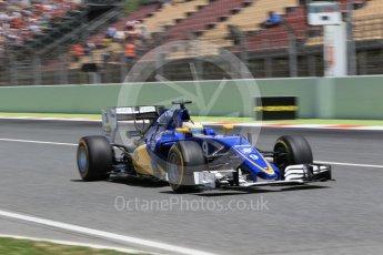 World © Octane Photographic Ltd. Sauber F1 Team C35 – Marcus Ericsson. Saturday 14th May 2016, F1 Spanish GP - Qualifying, Circuit de Barcelona Catalunya, Spain. Digital Ref : 1546CB1D9683