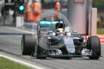 World © Octane Photographic Ltd. Mercedes AMG Petronas W07 Hybrid – Lewis Hamilton exits the pits. Sunday 15th May 2016, F1 Spanish GP Race, Circuit de Barcelona Catalunya, Spain. Digital Ref :
