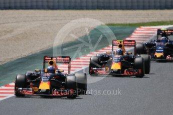 World © Octane Photographic Ltd. Red Bull Racing RB12 – Daniel Ricciardo and Max Verstappen ahead of Carlos Sainz' Toro Rosso. Sunday 15th May 2016, F1 Spanish GP Race, Circuit de Barcelona Catalunya, Spain. Digital Ref :